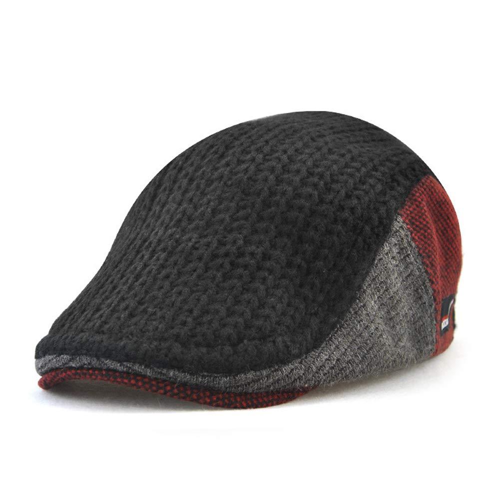 Funme Winter Men Warm Visors Woolen Knitted Berets Hats Flat Caps