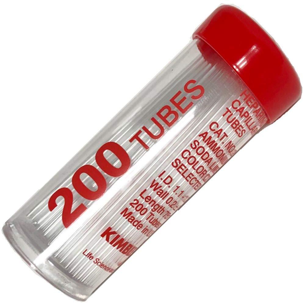 Kimble 41B2501, Micro-Hematocrit Capillary Tubes, Heparinized, Red Coded (Pack of 200)