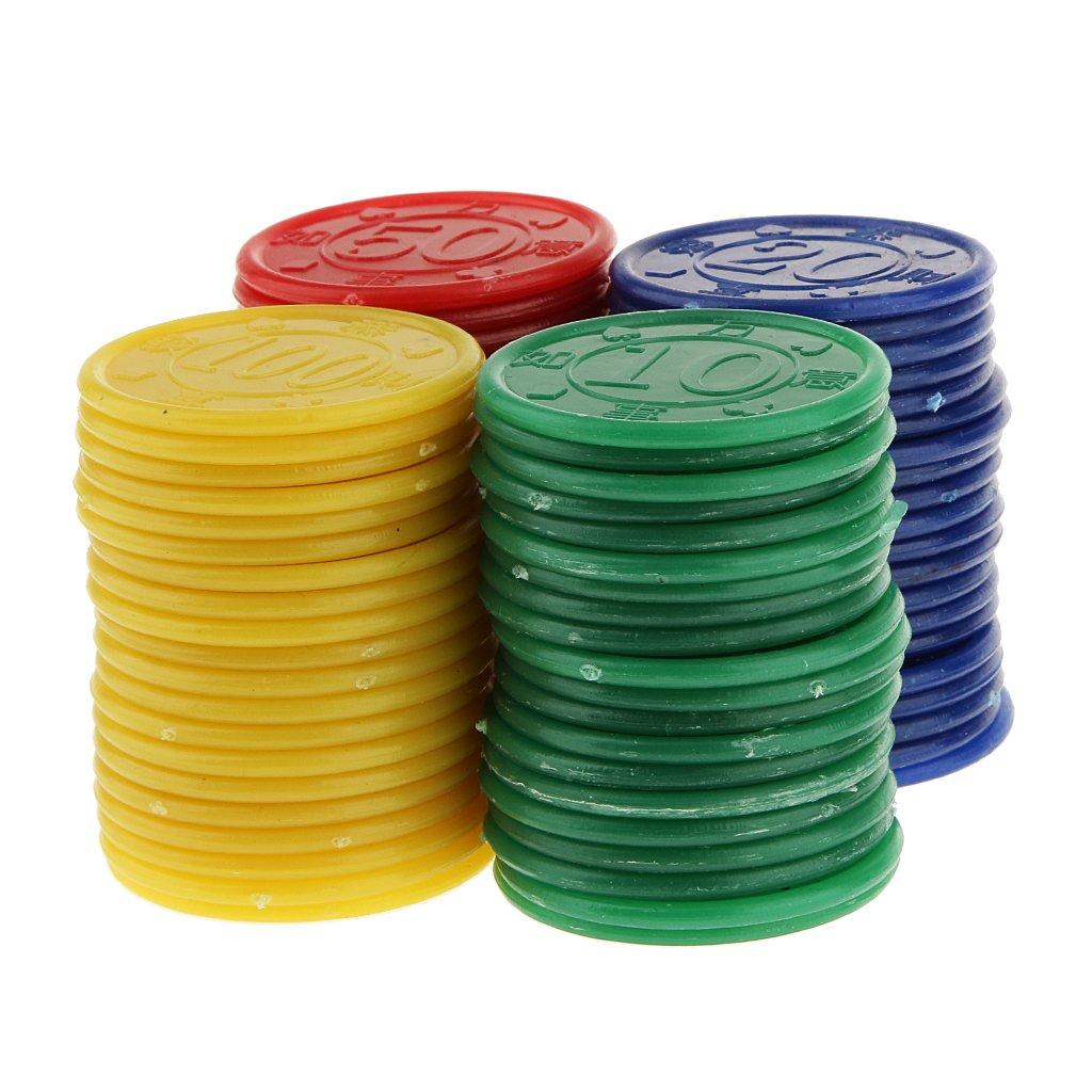 80 Jetons de Poker en Plastique -Machine de Jeu de Mahjong-Jeu de Casino - Bleu Jaune Vert Rouge Generic