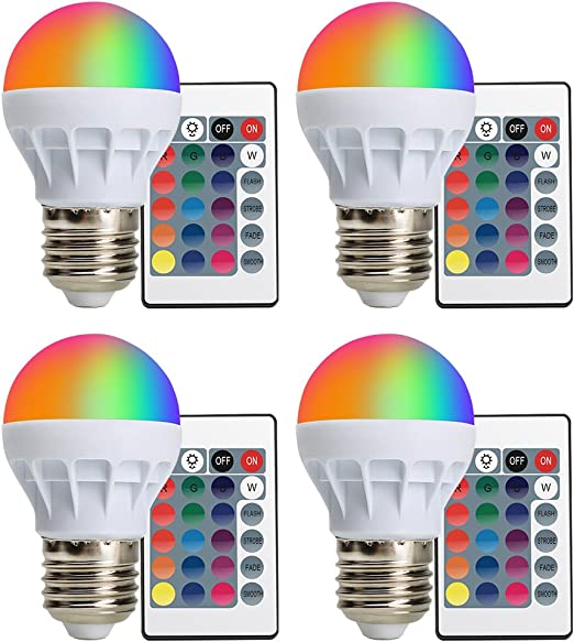 4-PACK) LED RGBW Lampe XJLED Magic Dimmbare 3W LED RGB Glühbirne ...