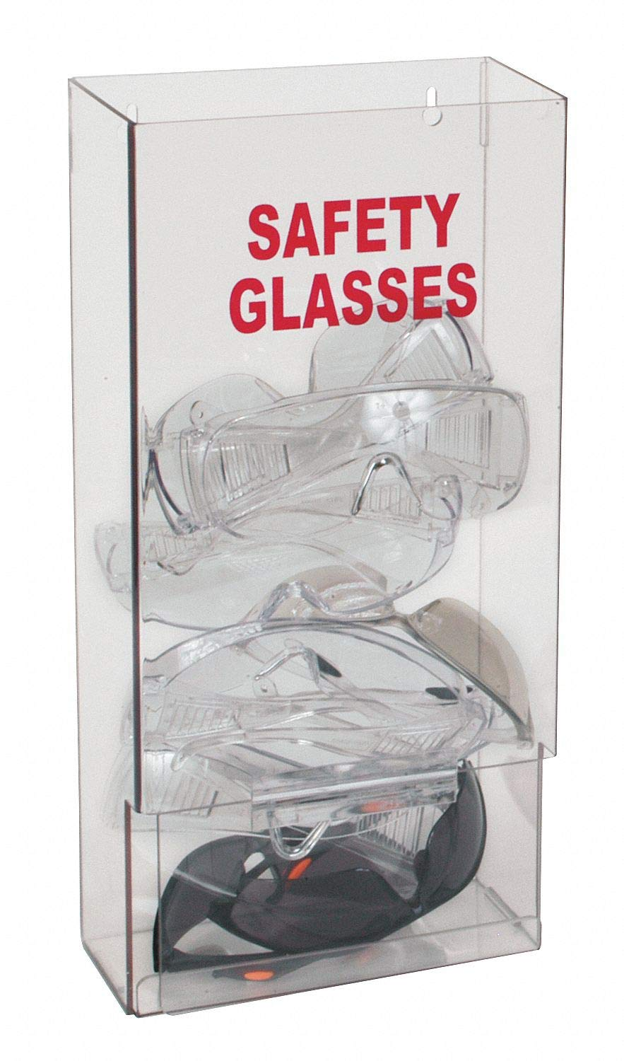 8'' x 4'' x 15-1/4'' PETG Protective Eyewear Dispenser, Clear; Holds Up to (25) Pairs