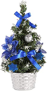 Wocst 8 Inch Mini Christmas Tree Tabletop Pine Tree Decor Christmas Tree ToppersSmall Artificial Christmas Tree for Desk Tops Centerpieces Christmas Home Party Decoration (Blue)