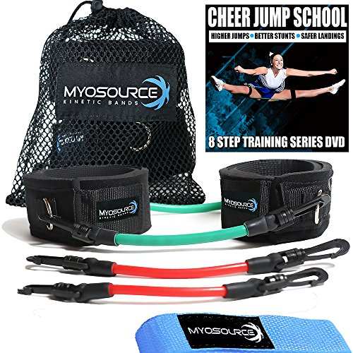 Kinetic Bands Cheer Combo Flexibility Fitness Training Kit (Leg Resistance Bands, Stunt Strap, Training DVD) From Myosource