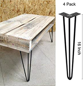 WINSOON Industrial Iron Hairpin Table Legs 16 Inch Set of 4 Pack Metal Bench Legs for Furniture feet Wooden Desk Legs Hair Pin Design (16 Inch 3-Rod Black)