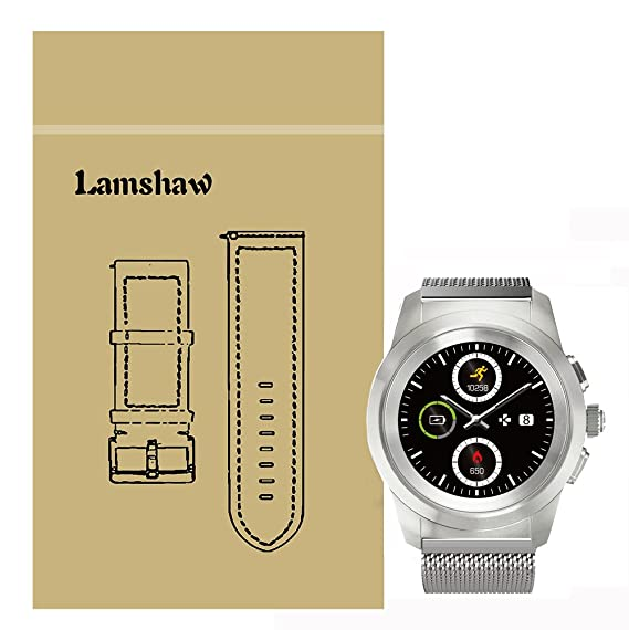 for MyKronoz ZeTime Band, Lamshaw Milanese Metal Stainless Steel Mesh Replacement Strap for MyKronoz ZeTime Smartwatch (Silver)