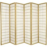 Oriental Furniture 6 ft. Tall Window Pane - Special Edition - Gold - 6 Panels