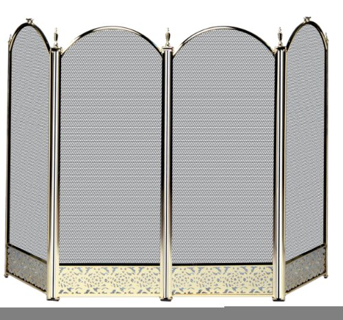 (Uniflame Four Fold Polished Brass Fireplace Screen - Filigree Designs)