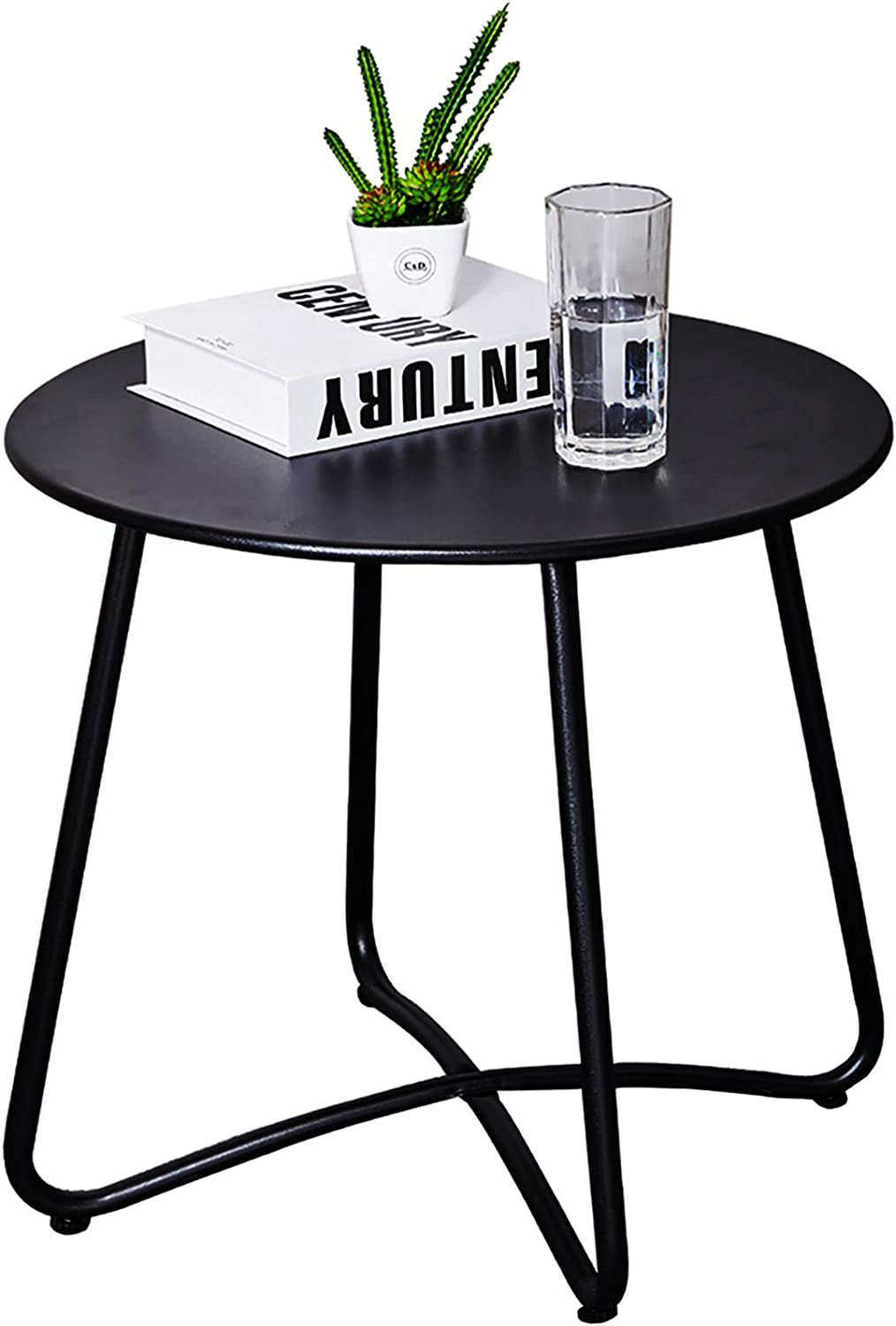 CaiFang Patio Side Table Outdoor, Small Round Metal Side Table Waterproof Portable Coffee Table End Table for Garden, Porch, Balcony, Yard (Black)