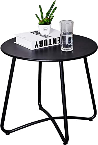 Patio Side Table Outdoor, Small Round Metal Side Table Waterproof Portable Coffee Table End Table for Garden, Porch, Balcony, Yard Black