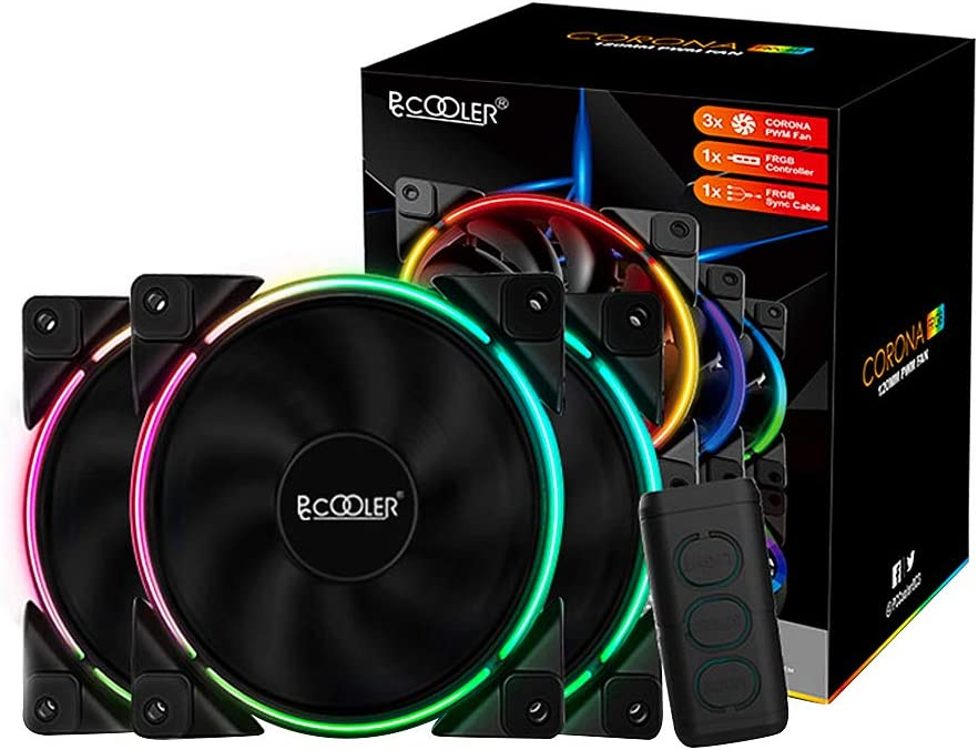 Pccooler 120mm Fan Moonlight Series, PC-3M120 RGB LED Computer Case Fan - PWM PC Cooling Fan - Dual Light Loop Quiet Fan/Multiple Light Modes with Controller for PC Cases, CPU Coolers (Multicolor)