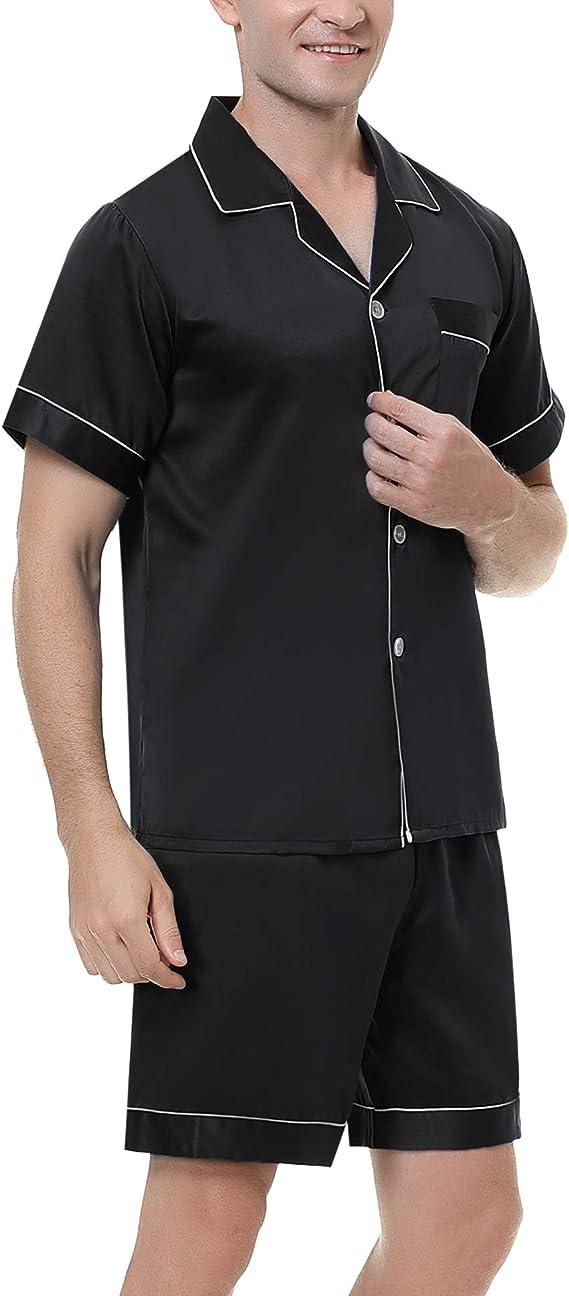 Hawiton Mens Satin Pyjama Set Soft Lightweight Nightwear Loungewear Short Sleeve Sleepwear and Top PJ/'s Set