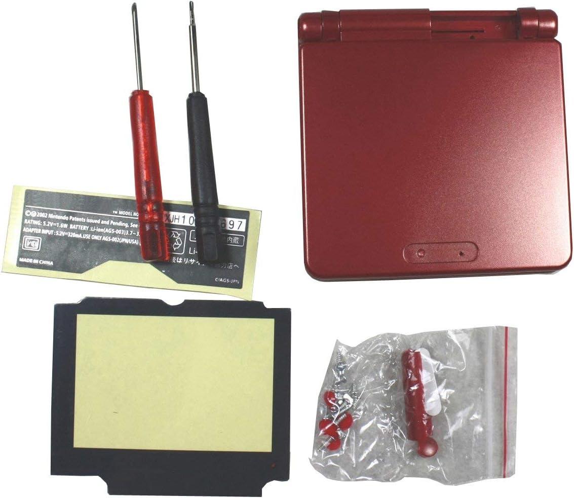 OSTENT Reemplazo de cubierta de carcasa de carcasa completa compatible con Nintendo GBA SP Gameboy Advance SP - Color rojo
