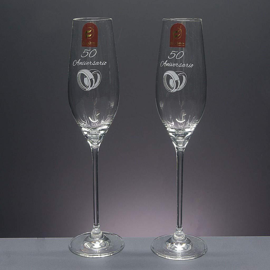 Bandeja de Cristal centrada Bodas de Plata//Oro Aniversarios colecci/ón CELEBRATION-25 Aniversario. Set de 2 Copas de Cristal para champ/án para Novios