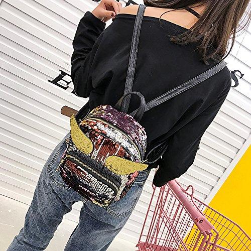 Damen Mädchen Mode Rucksäcke Pailletten Laser Flügel Schultaschen Frauen Mini Reisen Daypacks Tasche Umhängetaschen (Schwarz) Rot twMNJZ8QVa