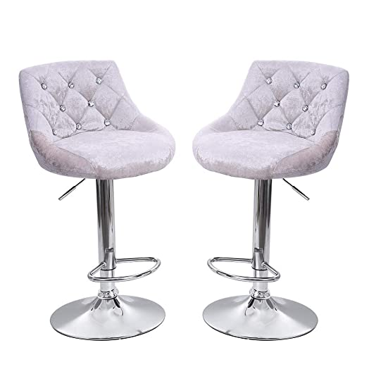 Clearance Sale 2PCS Home Bar Stools Velvet Snowflake Chair Seat Counter Height Adjustable Bar Chair