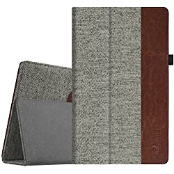 """Fintie Folio Case for All-New Amazon Fire HD 10 Tablet (7th Generation, 2017 Release) - Premium Fabric Slim Fit Smart Stand Cover with Auto Wake / Sleep for Fire HD 10.1"""" Tablet, Denim Gray"""