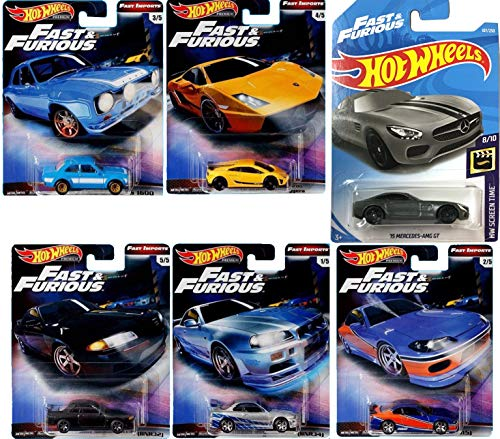 Imports Fast & Furious Premium Hot Wheels 2019 Street Racers Vehicle Movie Action 6-Item Car Bundle Nissan Skyline / Lamb Gallardo Superleggera / Ford Escort / Silvia & Mercedes Benz AMG FT Screen ()