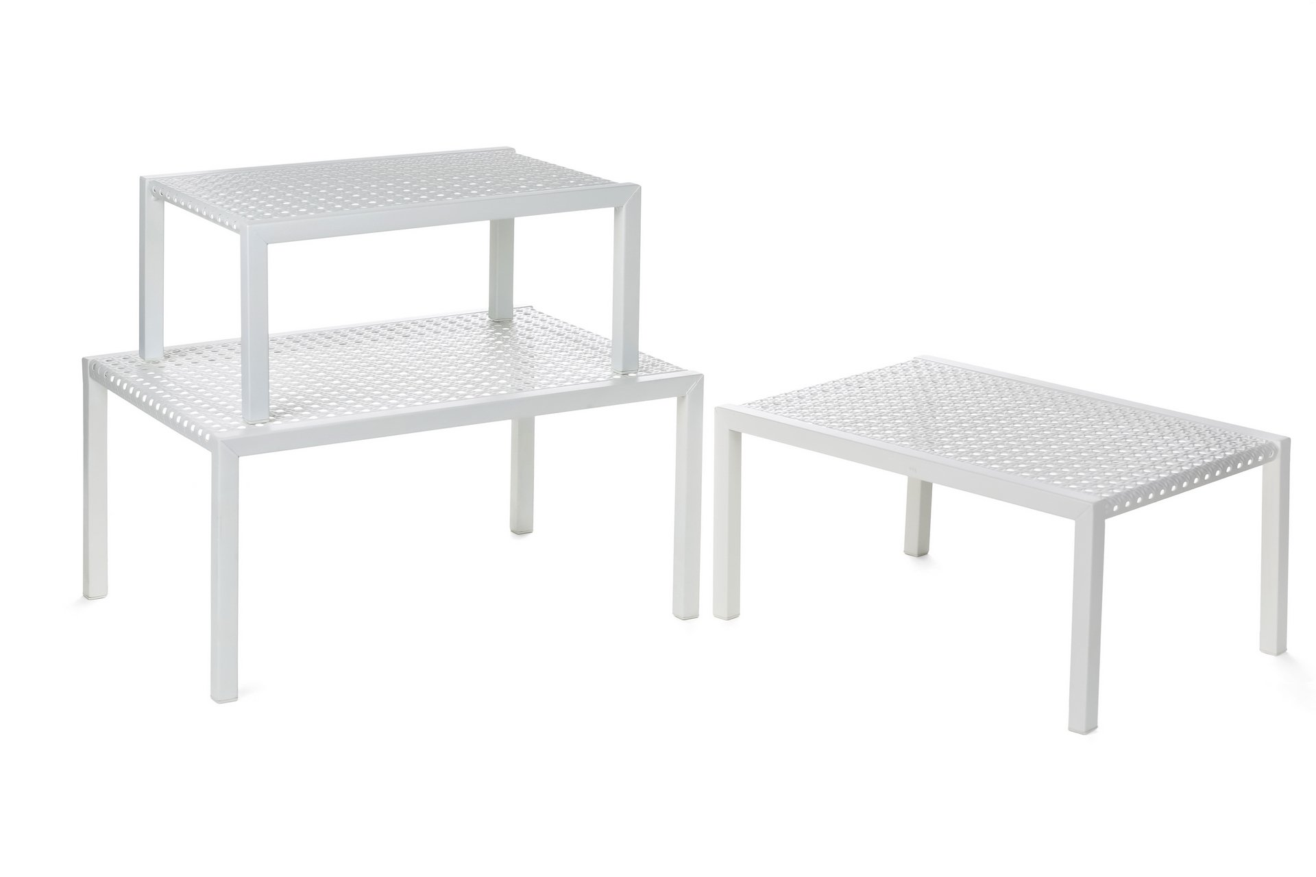 Heim Concept 3 Piece Nesting Counter Top Cabinet Counter Shelf Organizer Nesting Tables, Extendable & Stackable, White by Heim Concept