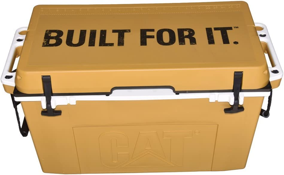 Caterpillar Cat Cooler with Built for It Lid Graphic, Cat Yellow, 55 Quart