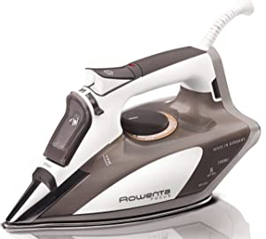 Rowenta 1700-Watt Micro Steam Iron Stainless Steel Soleplate with Auto-Off, 400-Hole, Brown, DW5080