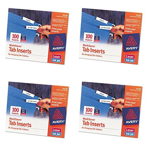 Avery WorkSaver Tab Inserts, 2 Inches, White, 100 Inserts (11136), 4 Packs (Inserts Printable)