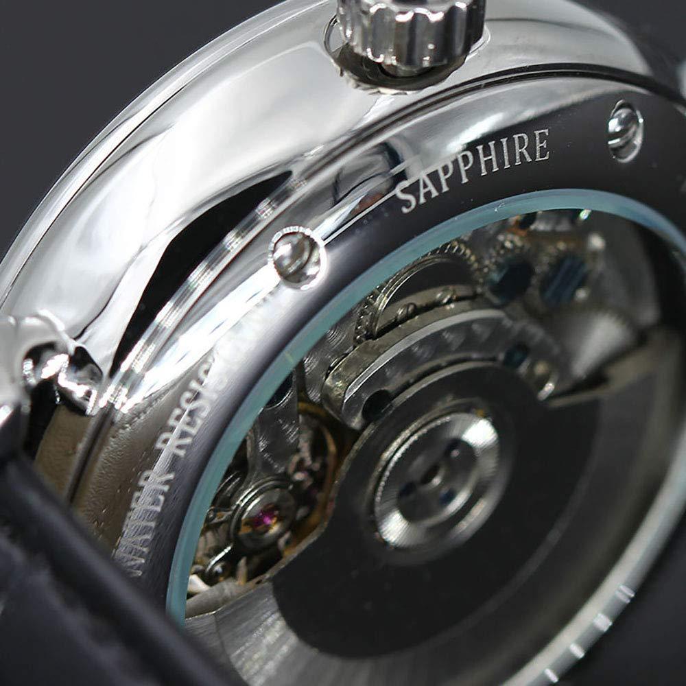 BAIYI herrklocka automatisk mekanisk klocka fin klocka läder avslappnad affärsklocka b