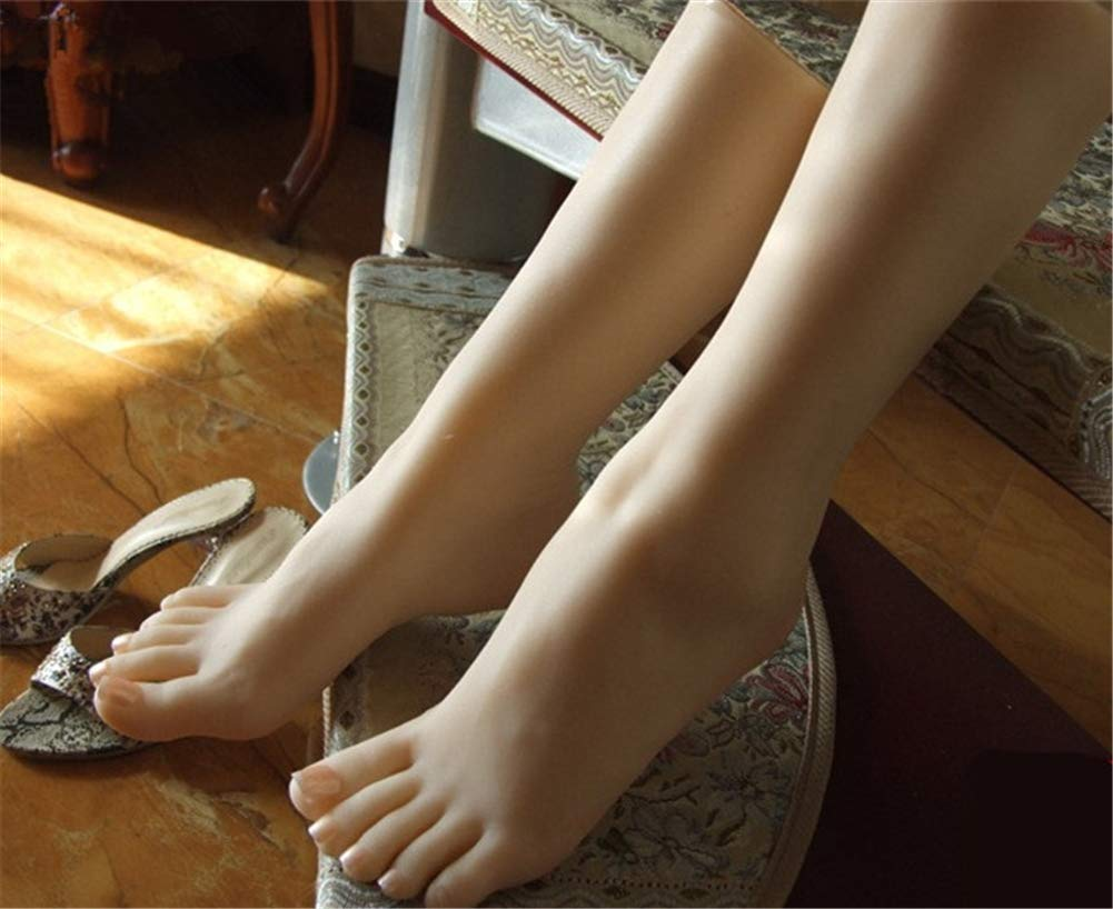 1 Pair Soft Silicone Foot Model Feet Mannequin Lifesize Female Leg Display Shoes Display Jewerly Sandal Shoe Sock Display Art Sketch Nail,Flesh