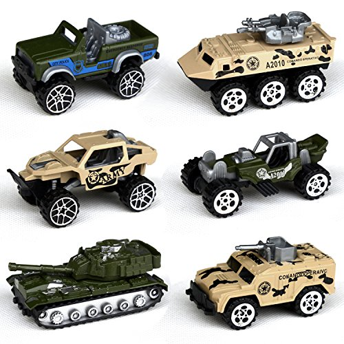 Tianmei 6 Cars in 1 Set Military styling 1:64 Alloy Diecast Vehicle Models Collection Kids Toy, Armament series Tank Jeep Truck Armored Car Assault Vehicle (TN 6Pieces - Army)