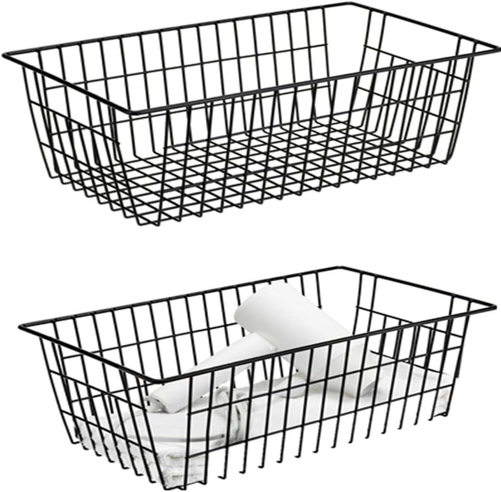 Farmhouse Decor Organizer Storage Bin Basket with Handles, Food Storage for Kitchen Cabinets, Pantry, Closet, Bedroom, Bathroom, Office, 2 Pack, Black