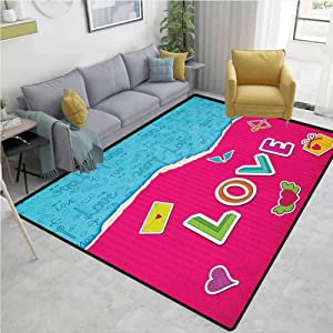 YucouHome Love Novelty Girls Bedroom Rug, Valentine`s Day Themed Composition with Torn Paper Effect Romantic Cartoon Elements, Fashionable High Class Living Bedroom Rugs(2'x 6') Multicolor