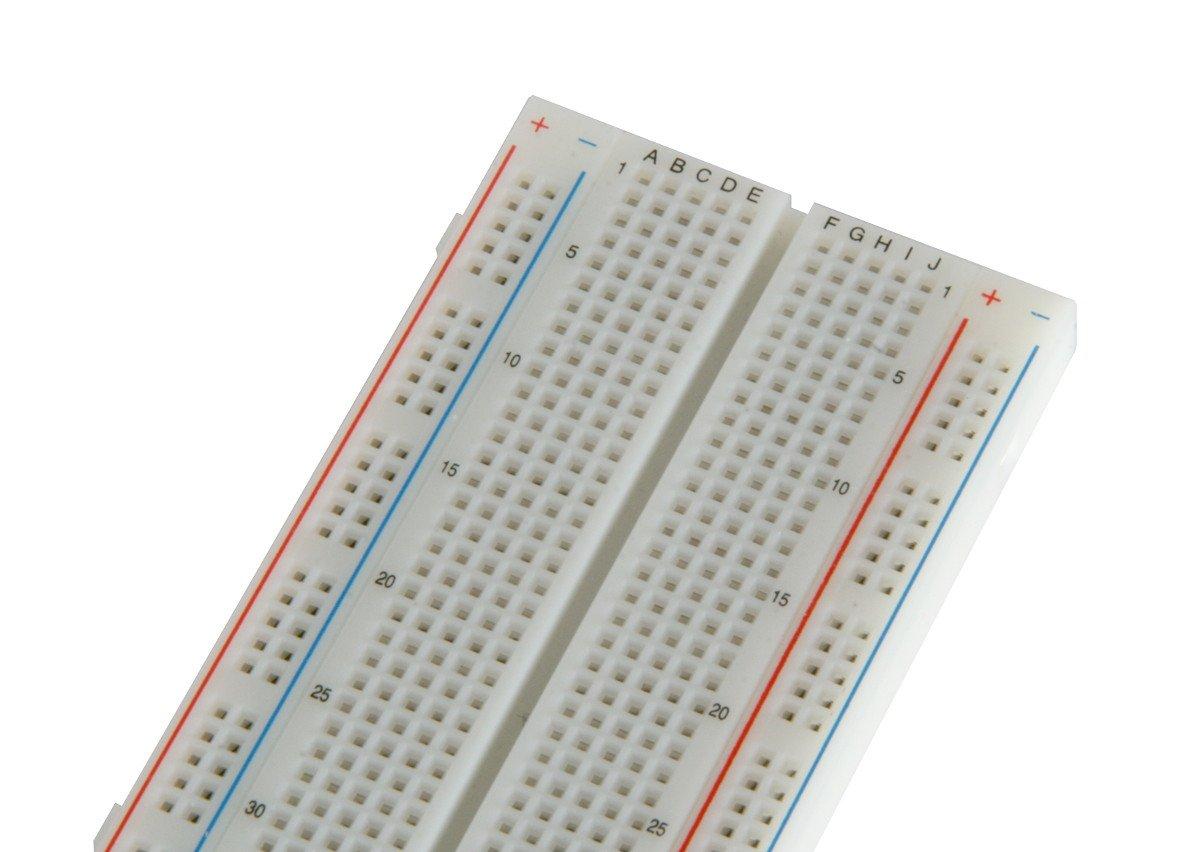 bb830 solderless plug in breadboard 830 tie points 4 power rails rh amazon com