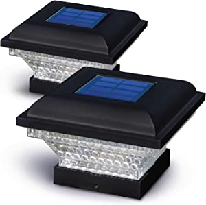Home Zone Security Solar Post Lights - Outdoor Solar Post Cap Lights for 3.5