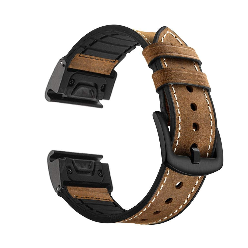 YOOSIDE for Fenix 5 Watch Band, 22mm Quick Fit Sweatproof Genuine Leather and Silicone Hybrid Watch Band Strap for Garmin Fenix 5/5 Plus/Quatix 5/Forerunner 935 (Brown)