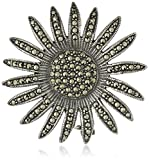 Sterling Silver Sunflower Marcasite Pave Pin