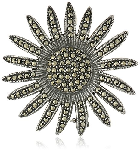 Sterling Silver Sunflower Marcasite Pave Pin - Sterling Silver Flower Brooch Pin