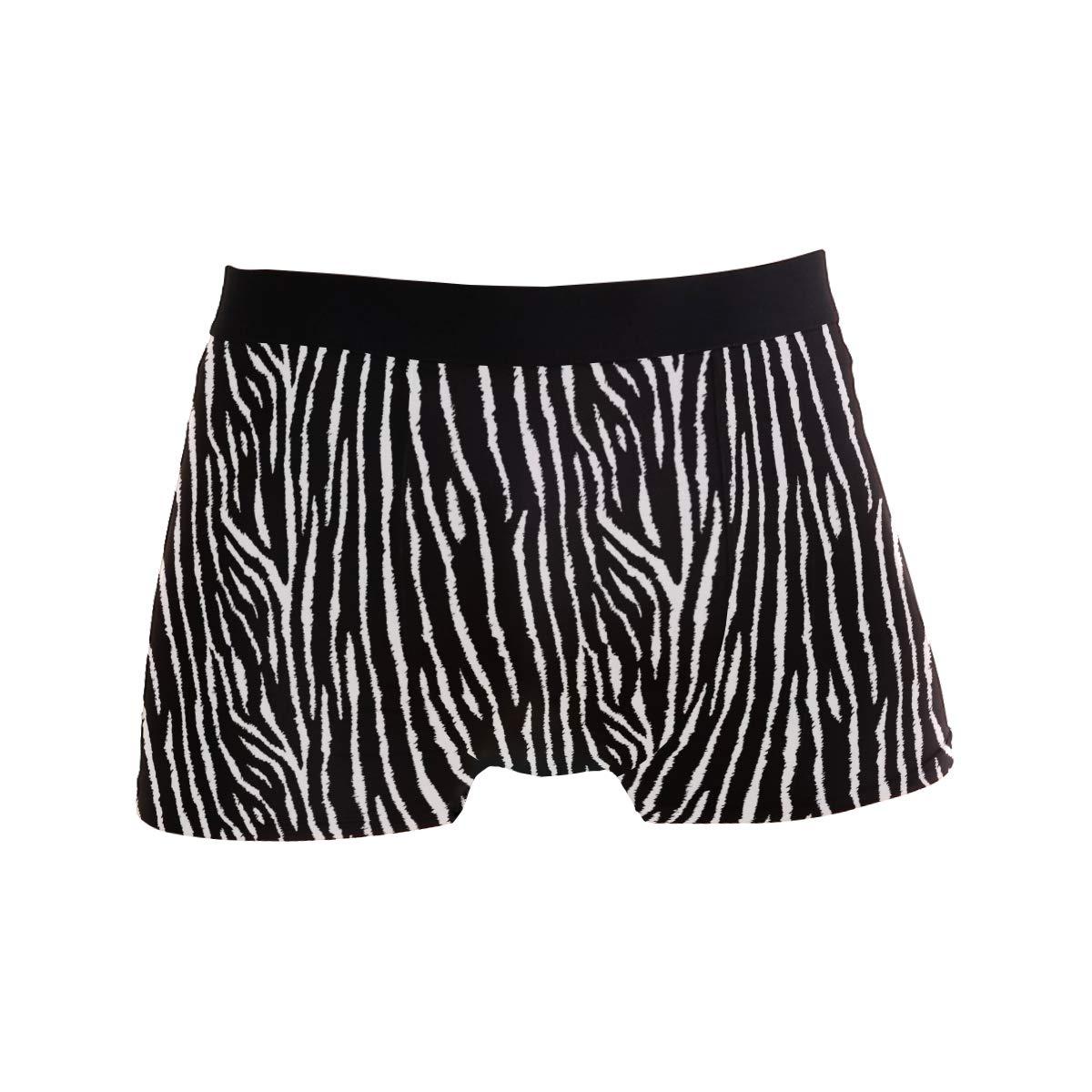 Mens Soft Breathable Tiger Zebra Animal Pattern Underwear Boxer Briefs
