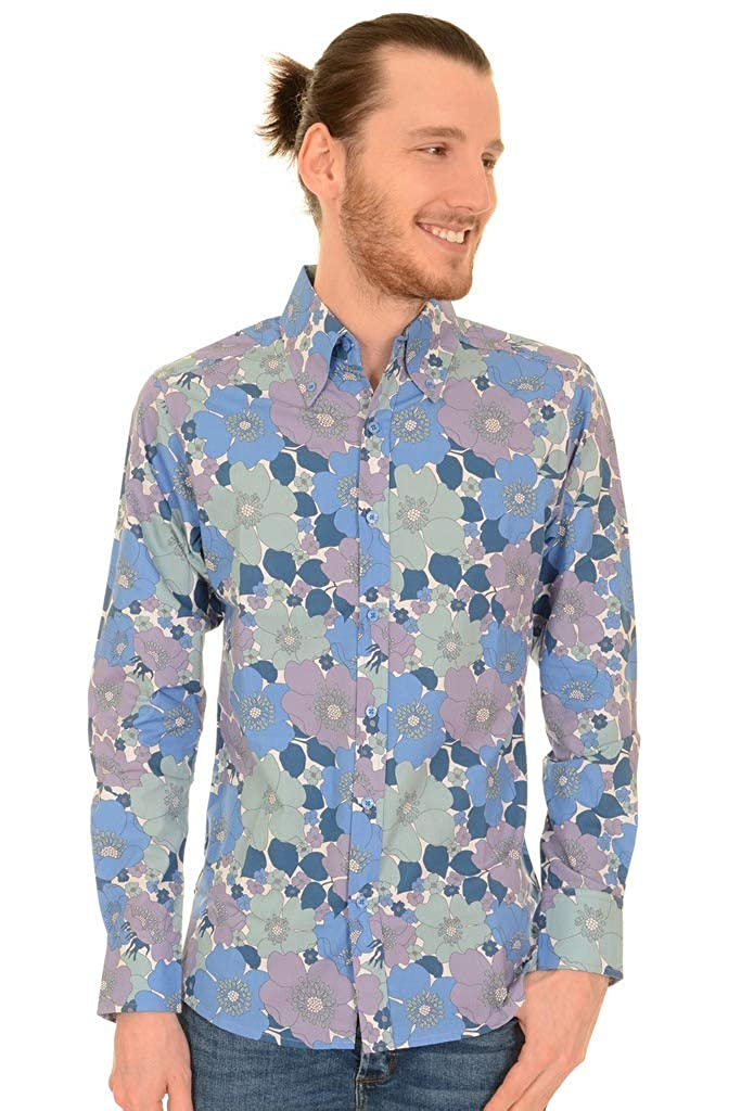 1960s Menswear Outfits | 60s Fashion for Guys Run & Fly Mens 60s 70s Retro Blue Floral Button Down Long Sleeve Shirt $48.78 AT vintagedancer.com