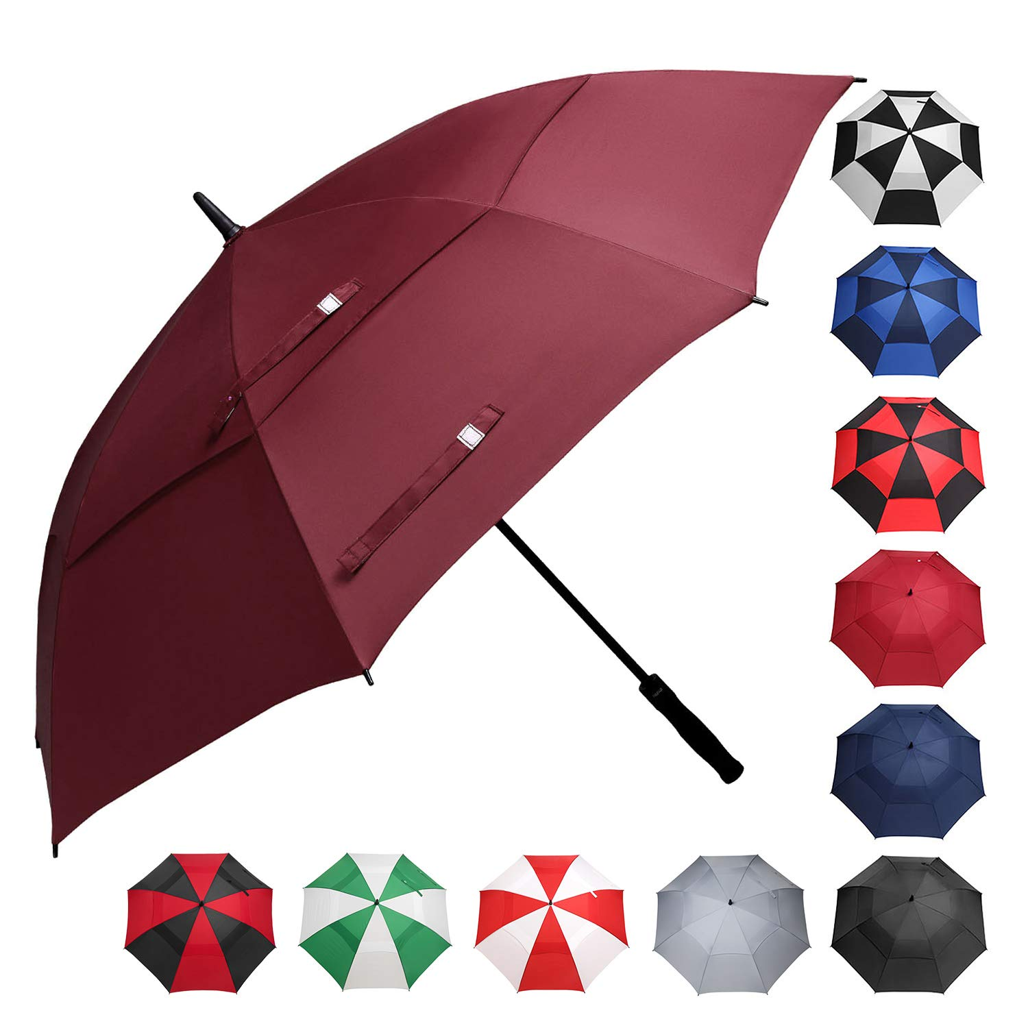 BAGAIL Golf Umbrella 68/62/58 Inch Large Oversize Double Canopy Vented Windproof Waterproof Automatic Open Stick Umbrellas for Men and Women (Red, 68 inch) by BAGAIL
