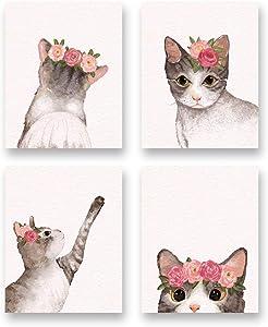 "Watercolor Lovely Cat Art Print- Flower Pet Cat Canvas Wall Art-(8""X10""X 4pieces, Unframed)-Modren Animal Themd for Kids Bedroom Pet Shop Decoration"