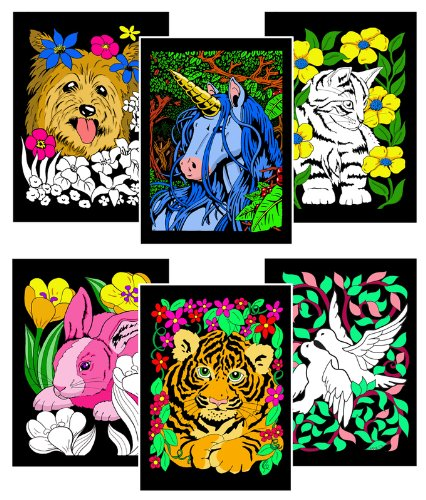 Stuff2Color Dove, Bunny, Kitten, Puppy, Unicorn, Tiger Cub - Six Fuzzy Velvet Posters -