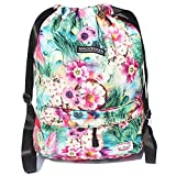 ESVAN Drawstring Bag Original Floral Backpack for Travel School Gym Beach 2 Sizes