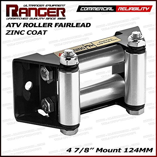 "Ranger ATV Winch Roller Fairlead 4 7/8"" (124MM) Mount for 2000-3500 LBs ATV Winch by Ultranger Glossy (Black)"