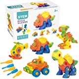 Pusiti Take Apart Toys 5 Pack Building Set 145 Pieces STEM Dinosaurs Helicopter Jeep Preschool Learning Construction Toys for Boys and Girls Engineering Kit for Toddlers DIY Toy for Kids (Set of 5)
