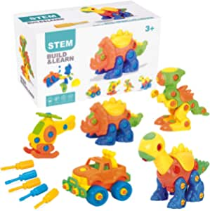 PUSITI Take Apart Toys 5 Pack Building Set 145 Pieces STEM Dinosaurs Helicopter Car Preschool Learning Construction Toys for Boys and Girls Engineering Kit for Toddlers DIY Toy for Kids