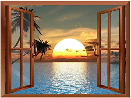 Wall26 Tropical Beach Landscape With Palm Trees At Sunset View From Inside A Window Removable Wall Sticker Wall Mural 24 X32 Amazon Co Uk Kitchen Home