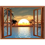 wall26 Tropical Beach Landscape with Palm Trees at Sunset View from Inside a Window Removable Wall Sticker/Wall Mural…