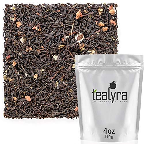 Tealyra - Wild Strawberry - Black Loose Leaf Tea - Papaya - Freeze Dried Strawberry - Blackberry Leaves - Antioxidant Rich - Caffeine Bold - 110g - Strawberry Papaya
