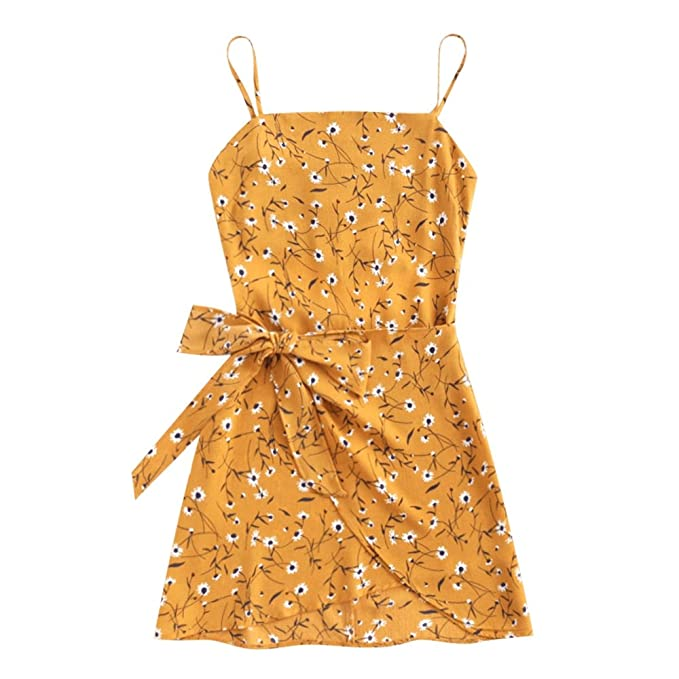 LANGSTAR Women Boho Mini Dress Bowknot Cut Out Tiered Sleeveless Beach Dress