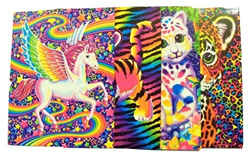 Lisa Frank 4 Folder Set ~ Animal Beauty (Pegasus, Tiger Cub, Colorful Kittens, - Cheetah Colorful