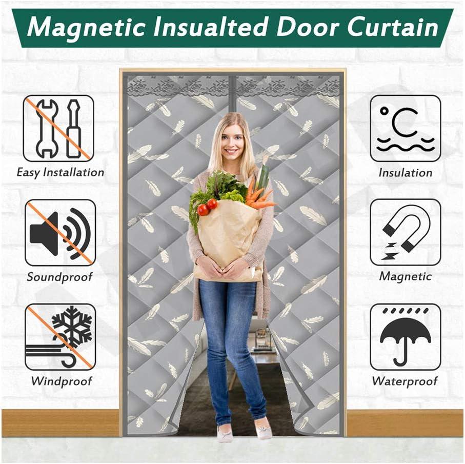 AMCER Magnética Cortina de Puerta Invierno, Adsorción magnética Plegable Aislamiento acústico de Invierno, Puerta de Pantalla Magnética para Pasillos/Puertas - Gris, 220x220cm